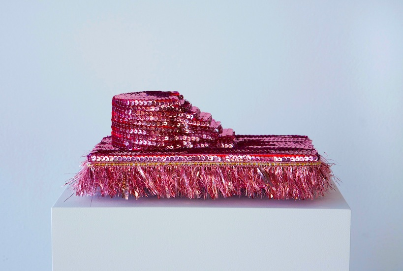 "Markie Mark (sequins, trimmings, foam, 4"" x 6"" x 3"" - 2012/2015)"