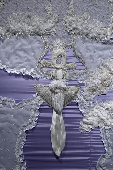 The Enormity of Lesbian Grief, detail (found wedding dresses, cloth, wood, metal 12' x 8' x 8' - 2014)