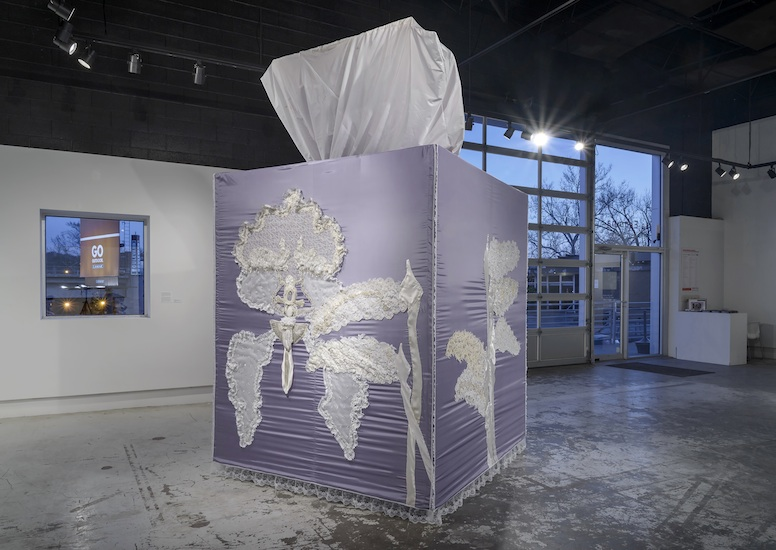 The Enormity of Lesbian Grief (found wedding dresses, cloth, wood, metal 12' x 8' x 8' - 2014)