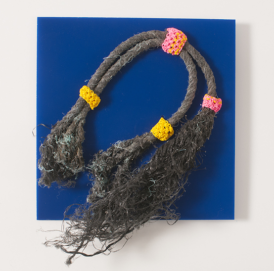"Blue Rope (found rope on Plexiglass, 6""x6"" - 2015)"