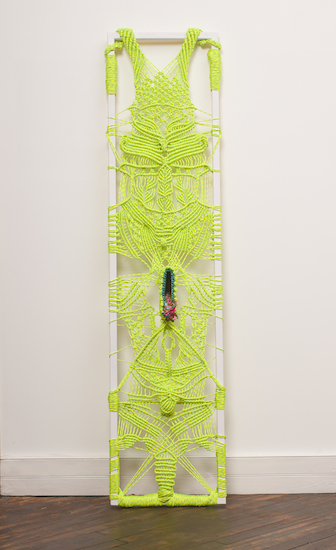 """Ranger Two  (rope, metal, cloth, 67"""" x 16"""" - 2015)"""