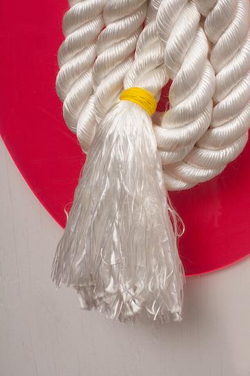 "Friendship Bracelet, detail (found rope on plexiglass, 42"" x 19"" - 2015)"