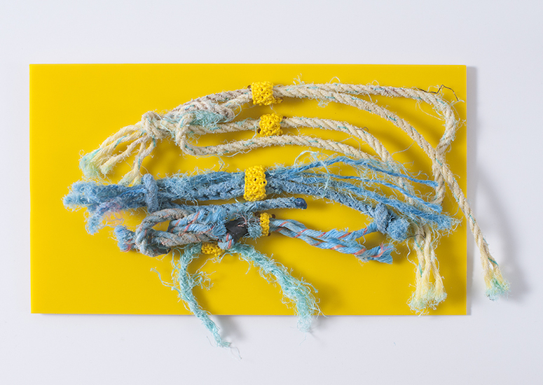 "Yellow Rope (found rope on plexiglass, 6""x 4""- 2015)"